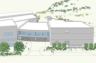 町田市立室内プールに計画中の「温浴施設」外観イメージ