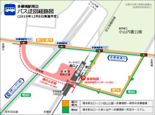 多摩境駅周辺のバス迂回経路図